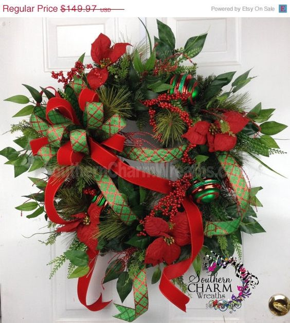 ON SALE Christmas Door Wreath Outdoor by SouthernCharmWreaths, $119.98
