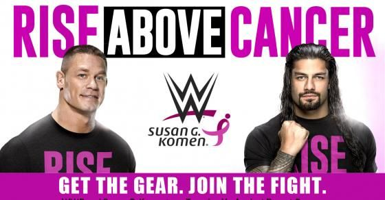"""WWE has partnered with Susan G. Komen for Breast Cancer Awareness Month this October. As part of this year's """"Rise Above Cancer"""" campaign, WWE will donate to Komen 20 percent of the retail sales price of all co-branded merchandise sold on WWEShop.com and at WWE Live Events."""