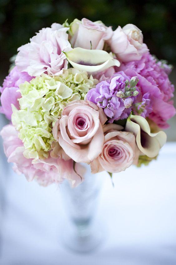 bridesmaids' bouquets-turned-reception arrangements