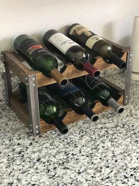 Cute Industrial Style Wine Rack Holds Six Bottles And Fits Easily On A Counter Top Or Table Approx Dimens Rustic Wine Racks Wooden Wine Rack Wine Rack Design