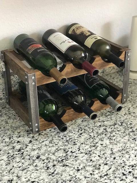 Industrial Wine Rack Rustic Fits On Counter Top Industrial Wine