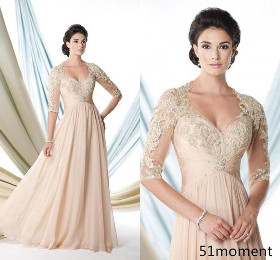 Mother Of Bride Dresses V Neck Bead 3/4 Sleeve Formal Evening Chiffon Party Gown #Dress