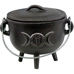 Triple Moon Goddess Cauldron 4 1/2 inches