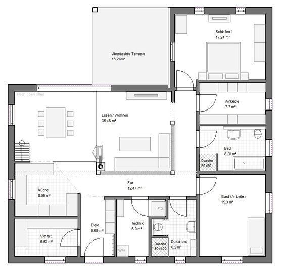 Winkelbungalow Gross 130qm Satteldach Haus Grundriss Grundriss Bungalow Haus Grundriss Winkelbungalow Grundriss