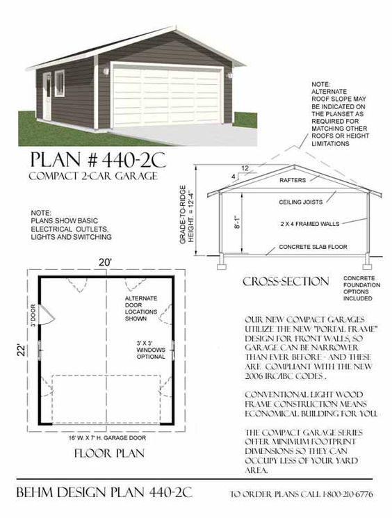 Two car garage plan 440 2c 20 39 x 22 39 by behm design for Double car garage plans