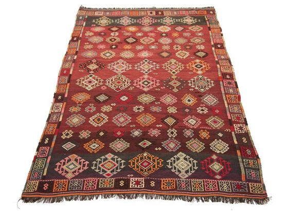 Special Sewing Turkish Kilim Carpet Handwoven by KilimRugAvenue