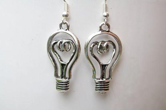 Lightbulb Earrings Silver Earrings Geekery Geek by FCBCreations, $12.00