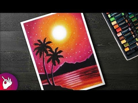 How To Draw Scenery Sunset With Oil Pastel Step By Step Youtube