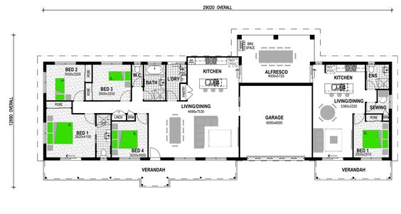 Granny flat and flats on pinterest for House with attached granny flat plans