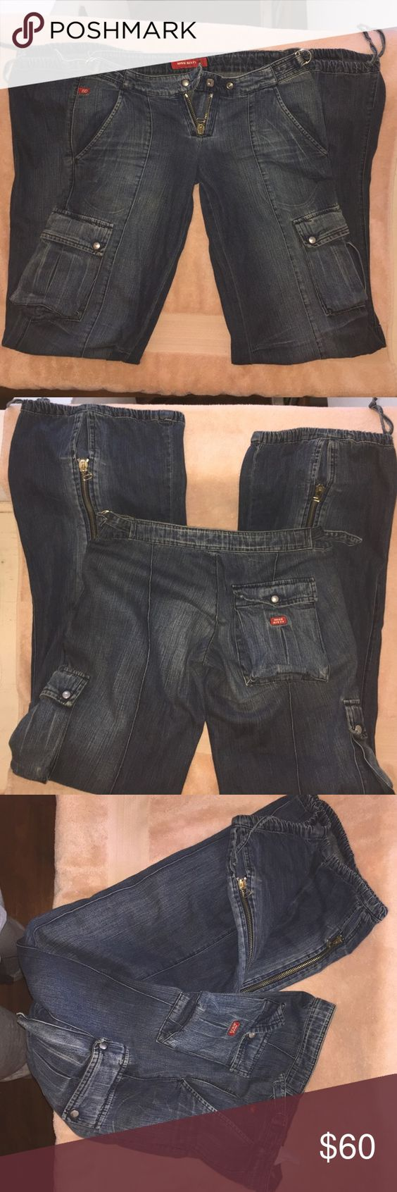 Miss Sixty Jeans Miss Sixty Parachute Jeans sz 24, Silver Hardware. Miss Sixty Jeans Flare & Wide Leg