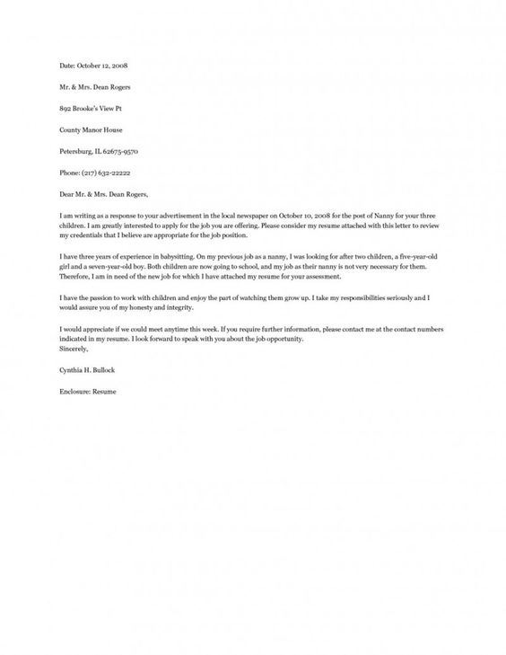 Nanny Cover Letter Example my pins Pinterest Cover letter - nanny resume cover letter