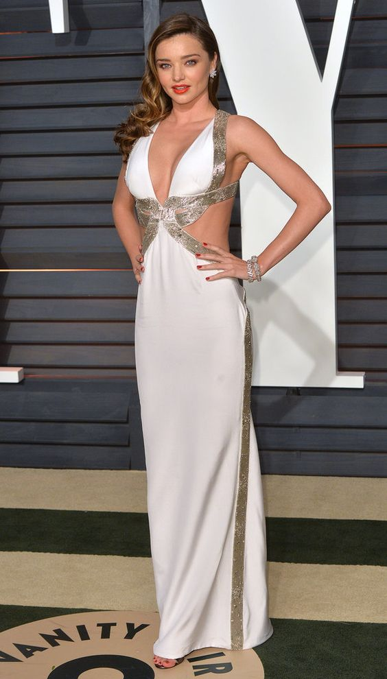 Oscars 2015: Miranda Kerr channeled Old Hollywood in a sexy sparkling cutout dress at the Vanity Fair afterparty.