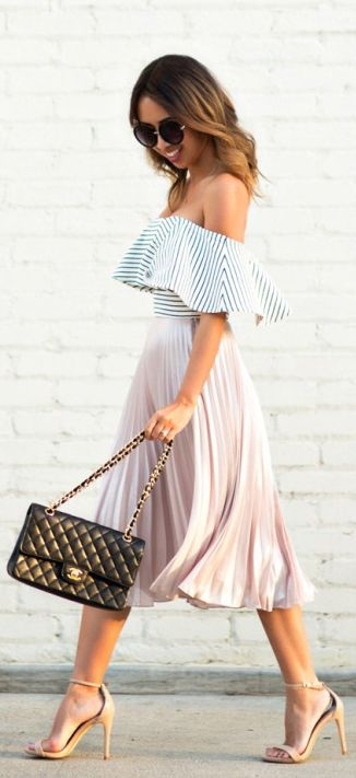 Kim Le has + spring look + blush pink pleated skirt + off the shoulder striped pattern Pleated Midi Skirt: Topshop, Top: ASOS, Shoes: Steve Madden, Sunglasses: Nordstrom, Handbag: Chanel.:
