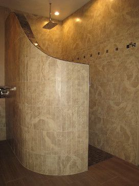 Curved Shower Wall With Glass Tile Houzz Home Design