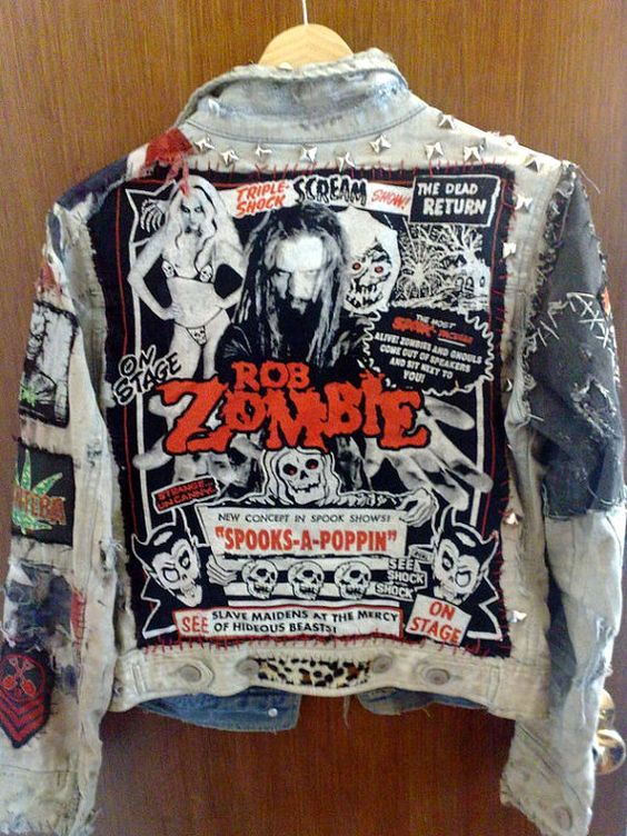 Distressed White Punk Rob Zombie Jacket My Dream Closet