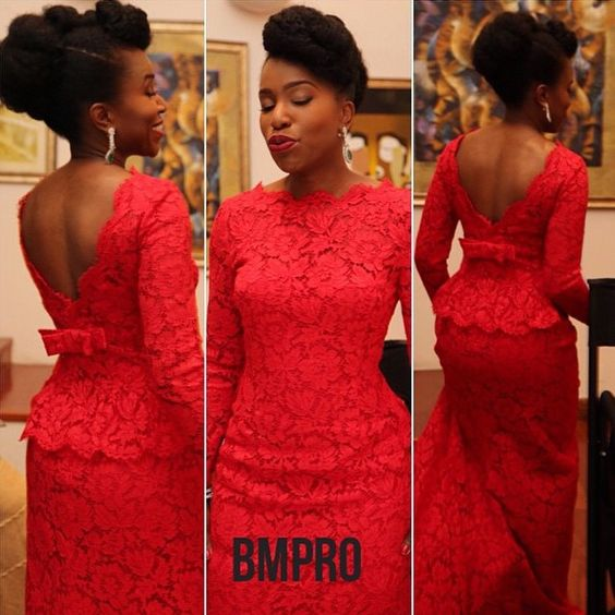 Red nigerian wedding lace dress for bride or bridesmaid. Follow @chiefwedslolo for more inspiration: