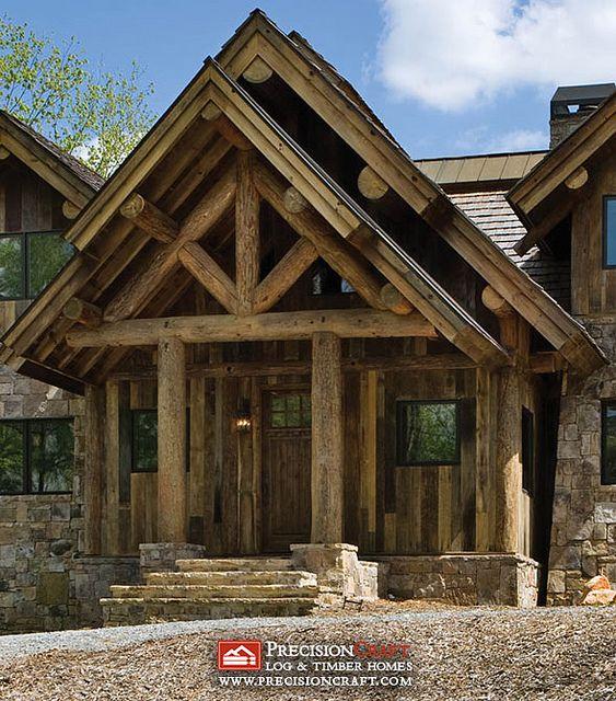 Exterior entrance post beam log home precisioncraft for Rustic timber frame homes