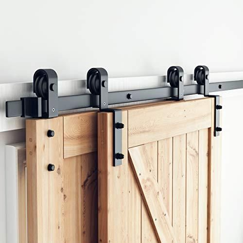 Bypass Sliding Barn Door Hardware Kit Single Track Flat Track For Double Wooden Doors Smoothly Quietly Easy To Install In 2021 Barn Doors Sliding Barn Door Closet Bypass Barn Door Bypass barn door hardware kit