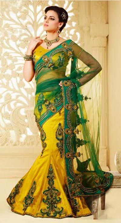 $155.68 Yellow and Green Resham and Stone Work Net Party Wear Saree 26345