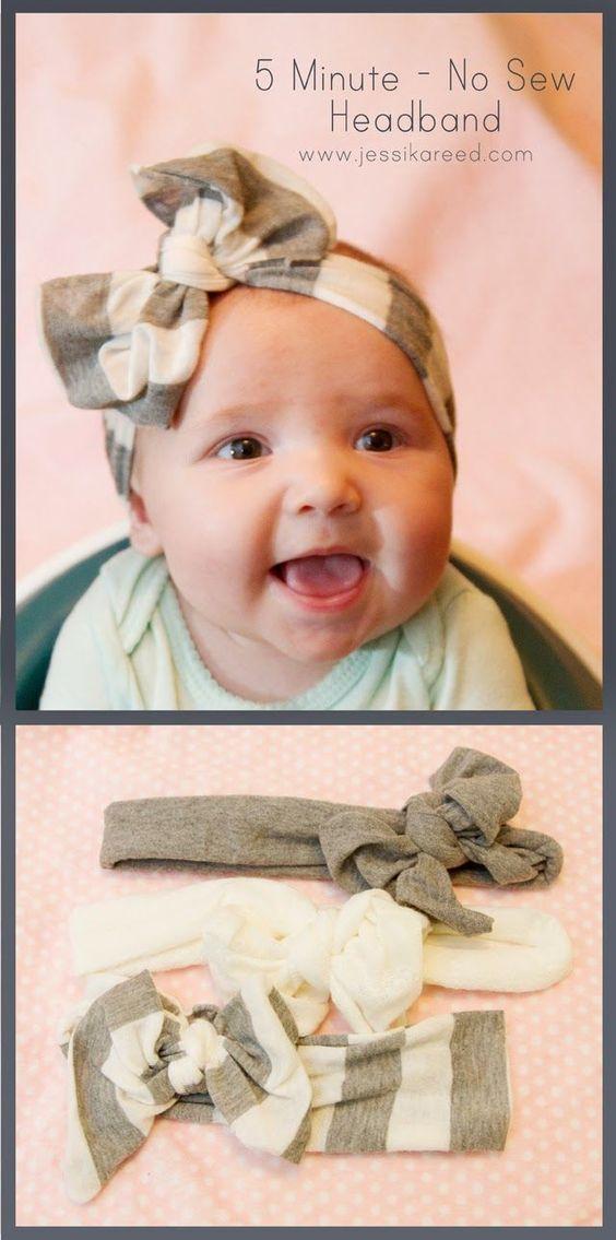 No-Sew Bow Headband  40 Homemade No-Sew DIY Baby and Toddler Gifts - http://diyforlife.com