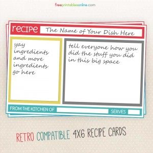 Colorful Blank Recipe Card Templates this site has templates for many different styles and designs of recipe cards. some are editable before printing.