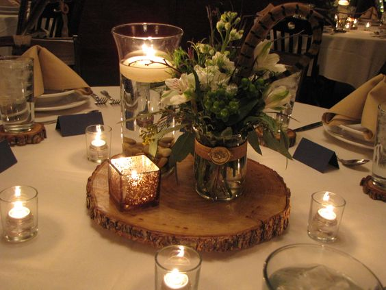 Rehearsal dinner decorations wood and birch wedding for Wedding dinner table decoration