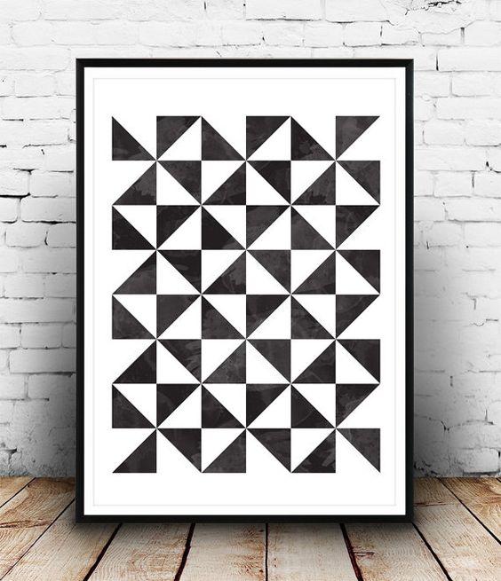 Art géométrique imprimer, scandinave affiche impression, géométrique, affiche abstrait, art minimaliste, noir et blanc, art pariétal, art Print, art nordique