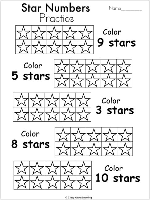 Free Kindergarten Math Numbers Worksheet Color The Stars Madebyteachers Kindergarten Math Numbers Kindergarten Math Free Shape Worksheets For Preschool