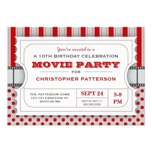 Movie Party Birthday Party Admission Ticket | Red Personalized Invite