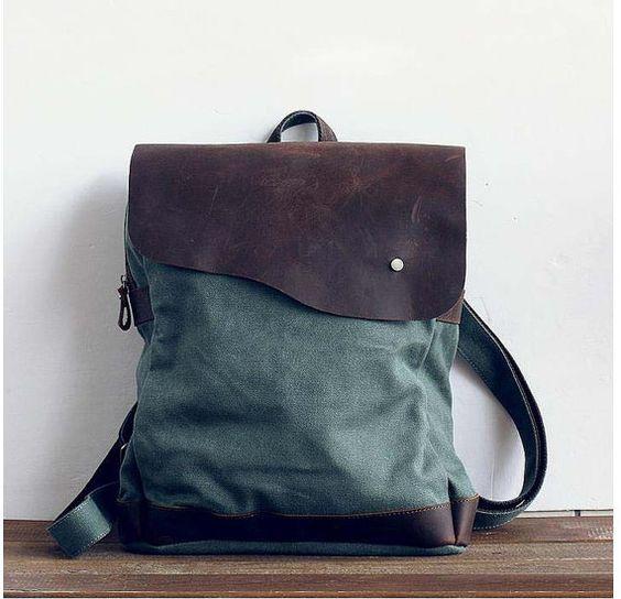 oliva lona mochila, mochila, cuero, bolsos de viaje, bolsa de embrague, hombro backpcak, estudiante de la lona morral ocio paquetes on Etsy, 37,36€