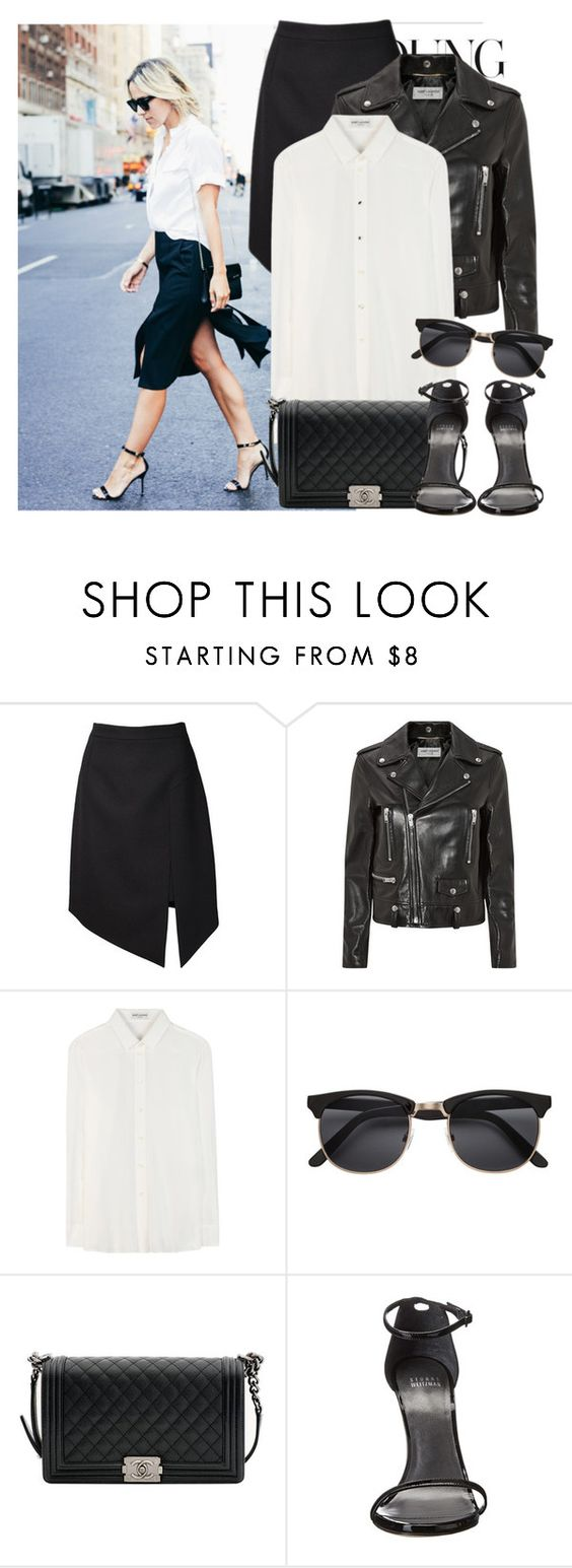 """""""1. Street Style"""" by facking-fashion-guru ❤ liked on Polyvore featuring Yves Saint Laurent, Chanel and Stuart Weitzman"""