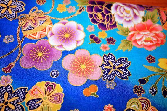 Gold Blue kimono fabric - Japanese Fans by carol-san*, via Flickr