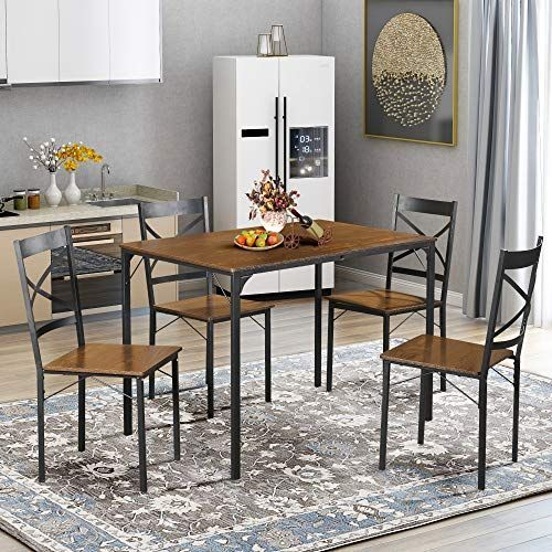 5 Piece Dining Table Set Vintage Table Top Home Kitchen Table With 4 Chairs Metal Dining Room Bre Metal Dining Room Kitchen Table Settings Wooden Kitchen Table