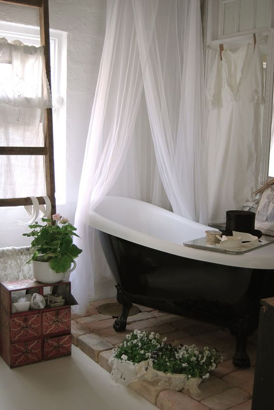 Curtains Ideas claw foot tub shower curtain : Clawfoot tub. Bricks. Plants. Shower curtain. LOVE it all | Loft ...
