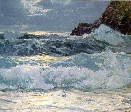 "Frederick Judd Waugh. (1861-1940) ""Breakers at flood tide"""
