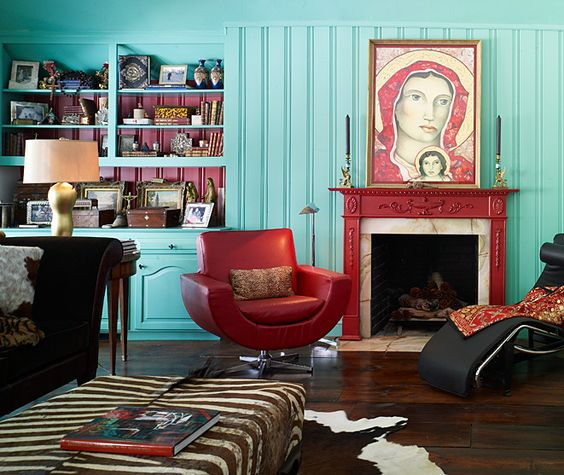 Keltainen talo rannalla: Eclectic Rooms, Turquoise Living Rooms, Colorhouse Dream, Living Room Colors, Interiors Living Rooms, Decorating Ideas, Living Room Wall Colors, Livingroom Design, Living Room Red