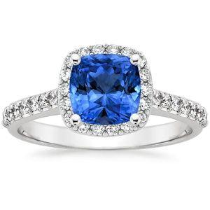 Platinum Sapphire Fancy Halo Diamond Ring with Side Stones