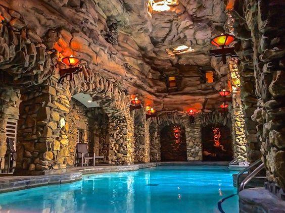 underground pool & grotto at North Carolina's Omni Grove Park Inn