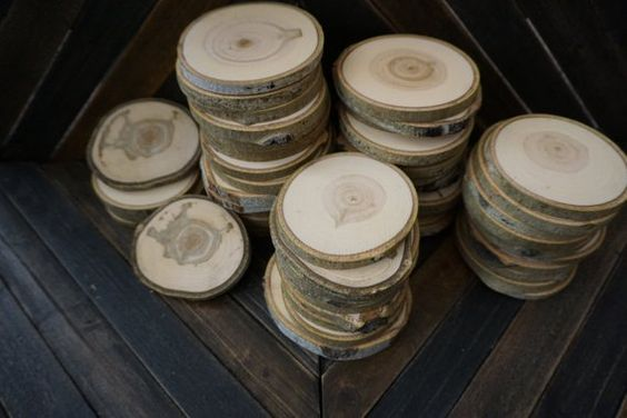Wood Discs Wood Decor Coasters DIY Wedding Rustic Wedding Decor Set of 50 3.5-4 Aspen Wood Slices DIY Craft Supplies