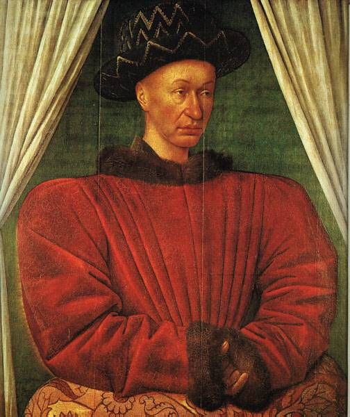 Jean Fouquet, Portrait of Charles VII of France, c. 1450s