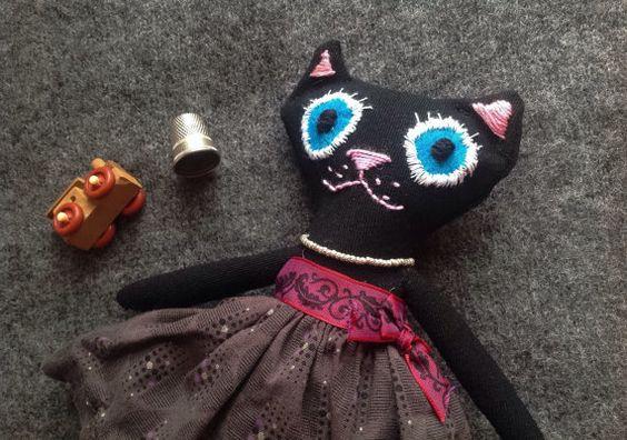 Poupée de chiffon chat noir