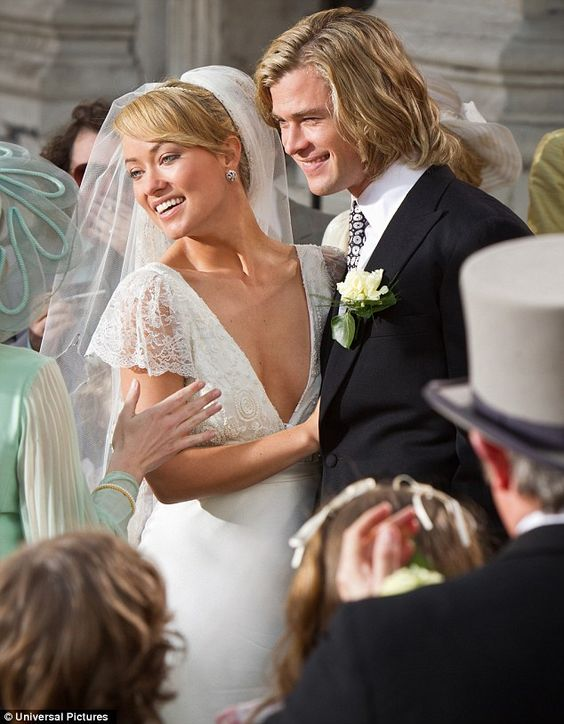 Blondies: Olivia Wilde and Chris Hemsworth tie the knot in a scene from Ron Howard's new movie, Rush