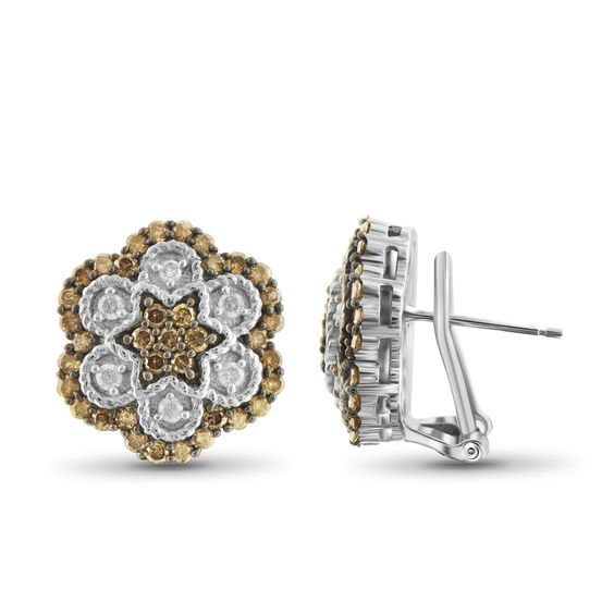 Jewelonfire Sterling Silver /2ct TDW Champagne and White Diamond Earrings