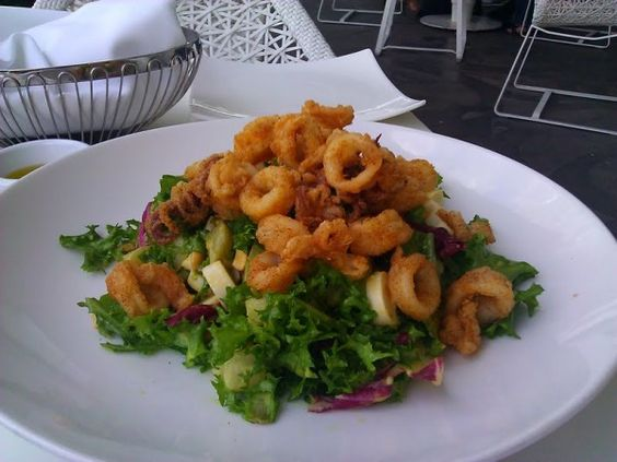 The crispy calamari salad at Asia de Cuba with chayote ...