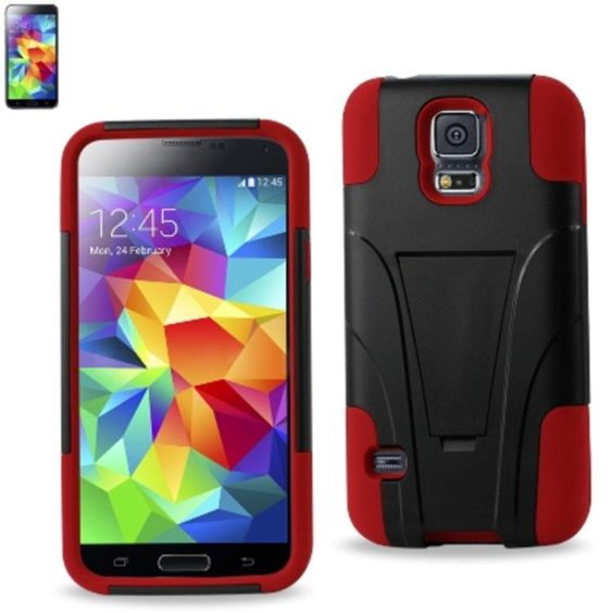 Reiko Silicon Case+Protector Cover Samsung Galaxy S5 Red Black New Type Kickstand