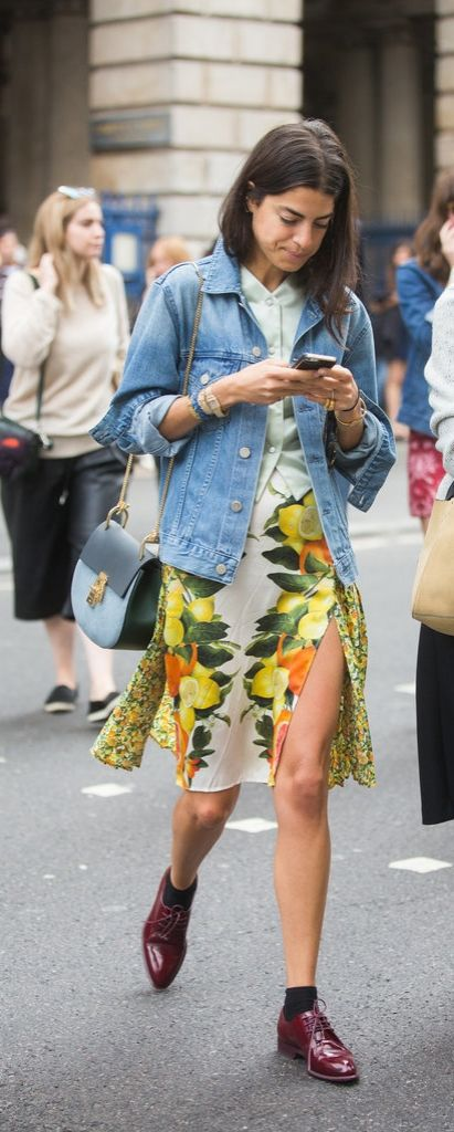 Leandra Medine's Chloé Drew Saddle Bag matches perfectly with her favorite denim looks.