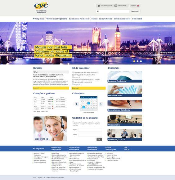 Criação de layout do site de relacionamento do investidor para o grupo CVC.