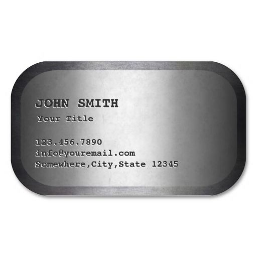Military Dog Tag Faux Metal Business Card. Make your own business card with this great design. All you need is to add your info to this template. Click the image to try it out!