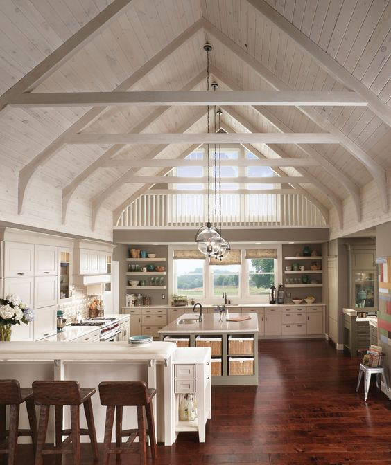 Open shelving light colors and cabinets on pinterest for Kitchen ceiling colors
