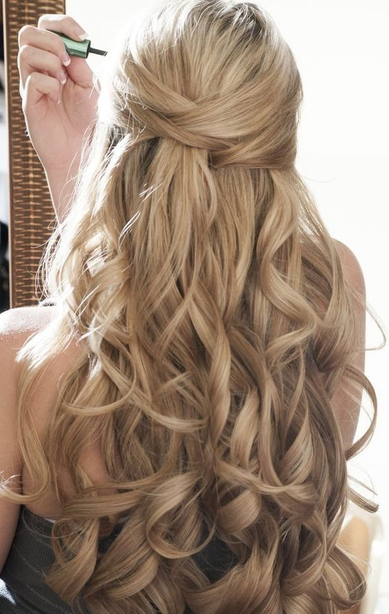 Hairstyle My Daughter Worn For Her Wedding Half Up Half Down Wedding Hairstyles Wedding Hair Down Medium Hair Styles Down Hairstyles